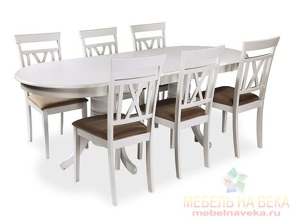 Обеденная группа стол ES 2000 + 6 стульев ES 2003-5 (white)