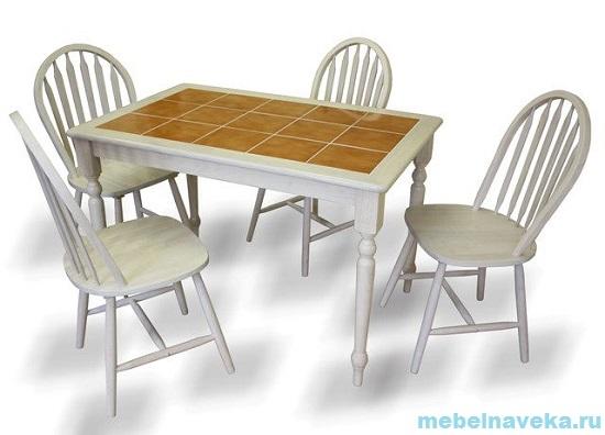 Обеденная группа 3045 (стол + 4 стула Винзор) Беленый дуб