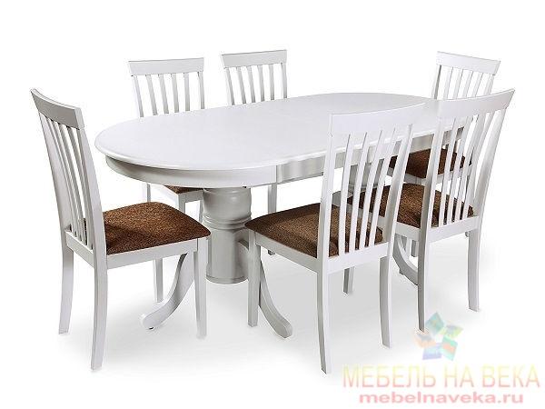 Обеденная группа стол ES 2000 + 6 стульев ES 2003 (white)