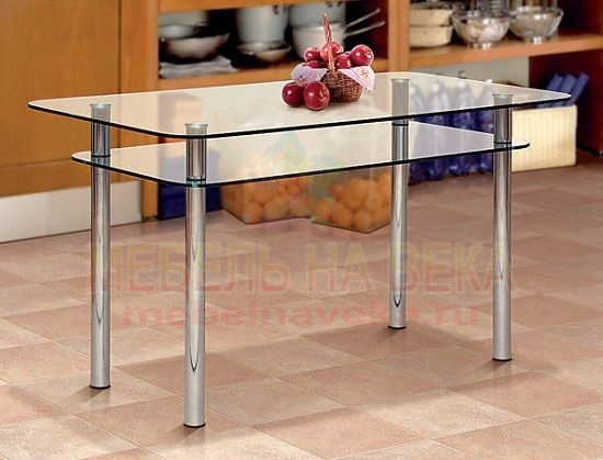 Стеклянный стол на кухню Дуэт-1