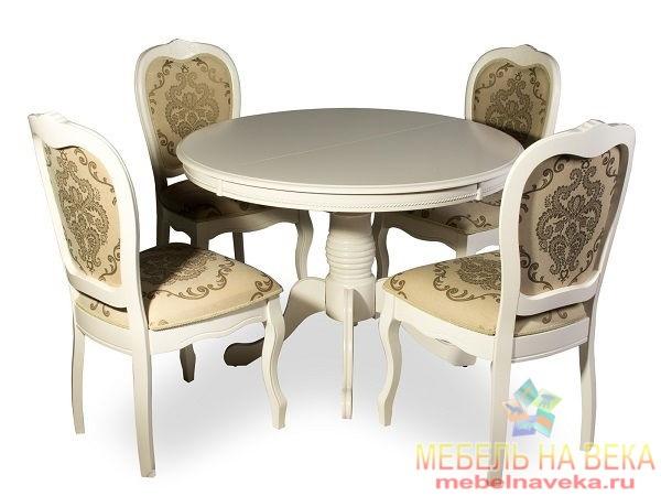 Обеденная группа стол OP-T4EX и 4 стула PR-SC-TX white